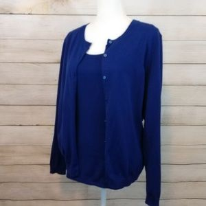 Dark Blue Blouse and Cardigan Size Large